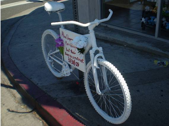 A Ghost Bike planted in April of 2009