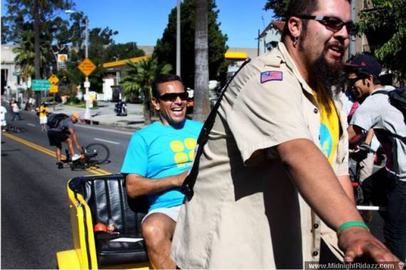 Aktive takes the Mayor for a spin at CicLAvia.  Photo: Midnight Ridazz.com
