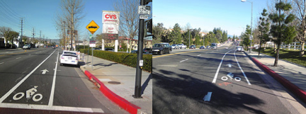 New Bike Lanes on Reseda and Rinadli in the Valley.  Image: LADOT Bike Blog
