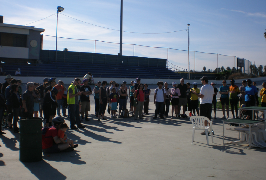 The first stop of the CICLE ride was at the Encino Velodrome, where riders were treated to a quick talk on professional cycling.  Photo: Dan Dabek/CICLE