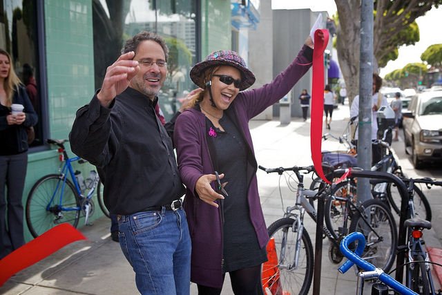 Santa Monica Spoke's Cynthia Rose and Santa Monica Mayor Richard Bloom cut the ribbon.  Photo: ##http://www.flickr.com/photos/garyseven/sets/72157629669284695/with/7013165951/##Gary Rides Bikes/Flickr##