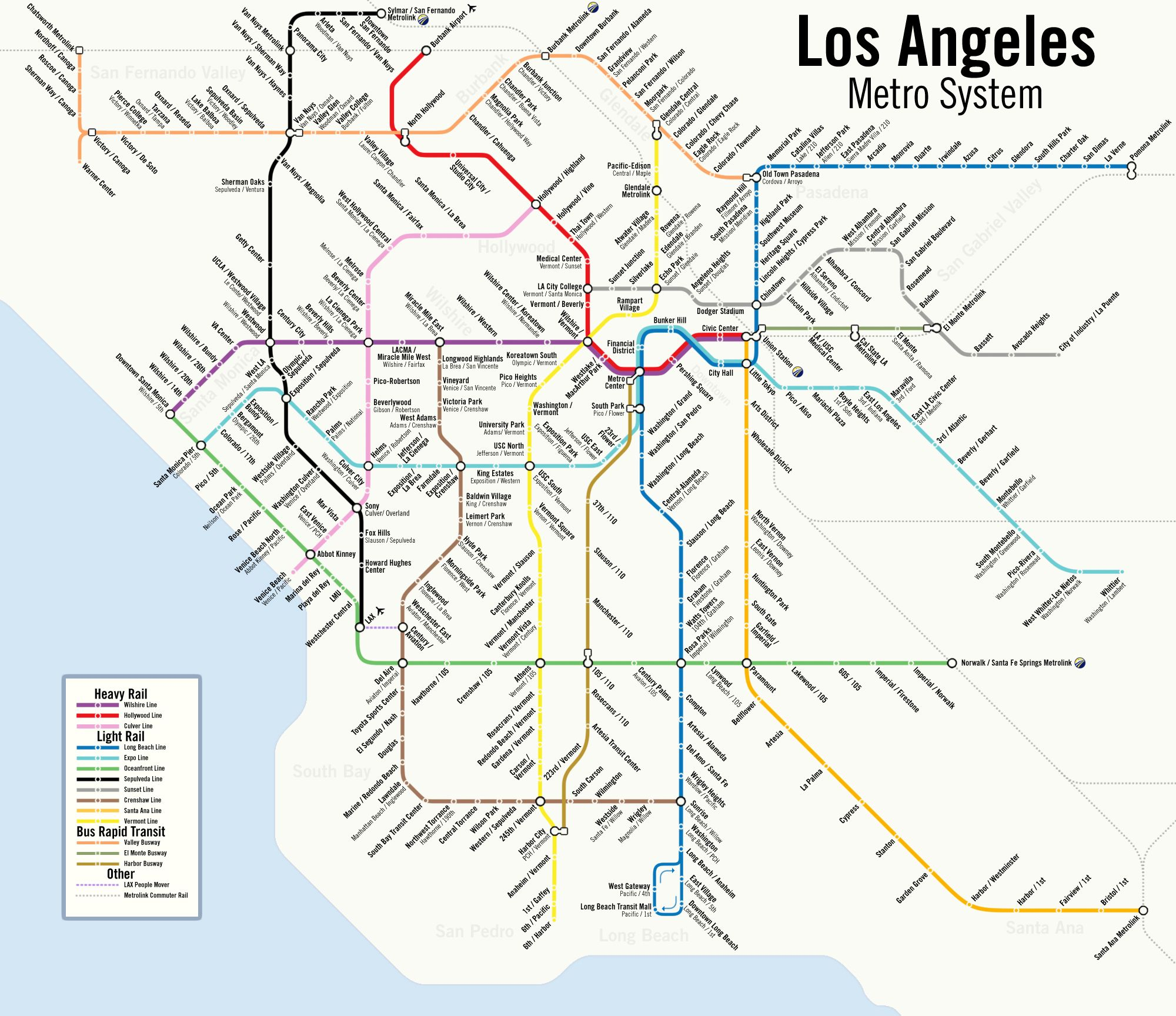 Los Angeles Metro Rail Station Map Of The Future YouTube LA Metro - Los angeles metro expansion map