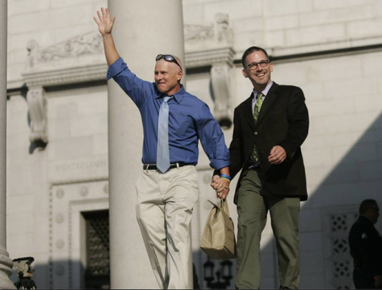 Mike Bonin and his fiancé Sean Arian celebrate Bonin's swearing in earlier this month. Photo: Mike Bonin/Facebook