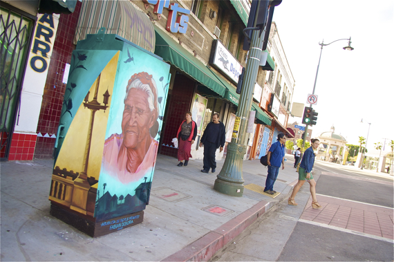 La Abuelita de Boyle Heights by Fabian Debora turns a blind eye to your jaywalking. Sahra Sulaiman/LA Streetsblog