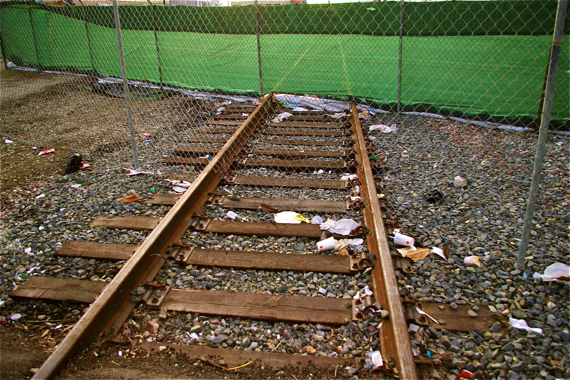 The tracks at Crenshaw last winter. Sahra Sulaiman/LA Streetsblog