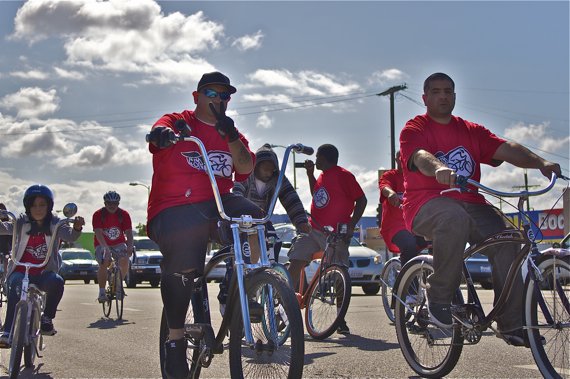"Javier ""JP"" Partida and his brother, Miguel, of Los Ryderz join in the Ride4Love. Sahra Sulaiman/LA Streetsblog"