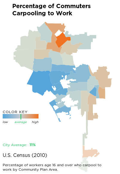 Screenshot of interactive Health Atlas map showing carpooling percentages throughout Los Angeles. Orange areas have the most carpooling, blue areas the least.