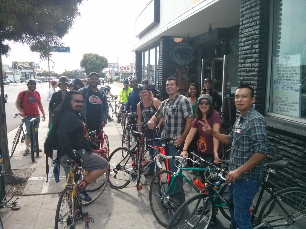 The Tour de Co-Ops stops at Bici Libre, an LACBC sponsored co-op  located southwest of DTLA. Both images: Erick Huerta