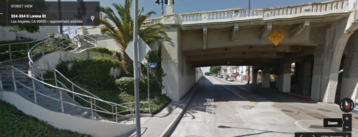 On the north side of 4th, a pedestrian could take the stairs and head underneath the bridge, but the sidewalk there is very narrow and there is still no way to cross to the west side once you make it under the underpass.