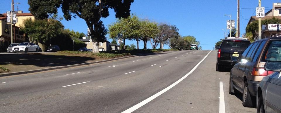 Eyes on the Street: LADOT stripes another bike lane - on San Vicente Blvd between Redondo Blvd and La Brea Avenue. Photo by Niall Huffman via Facebook