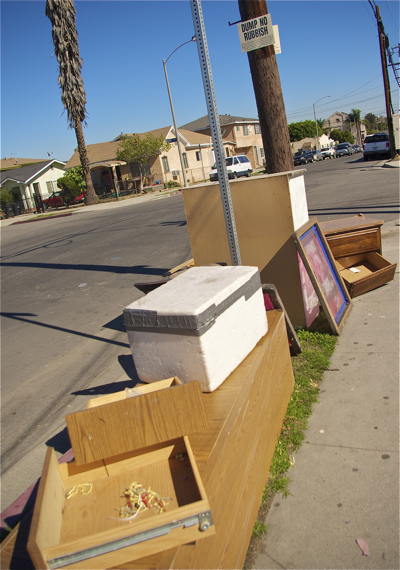 "More dumping under the ""no dumping"" sign at 6th and Breed. Sahra Sulaiman/LA Streetsblog"