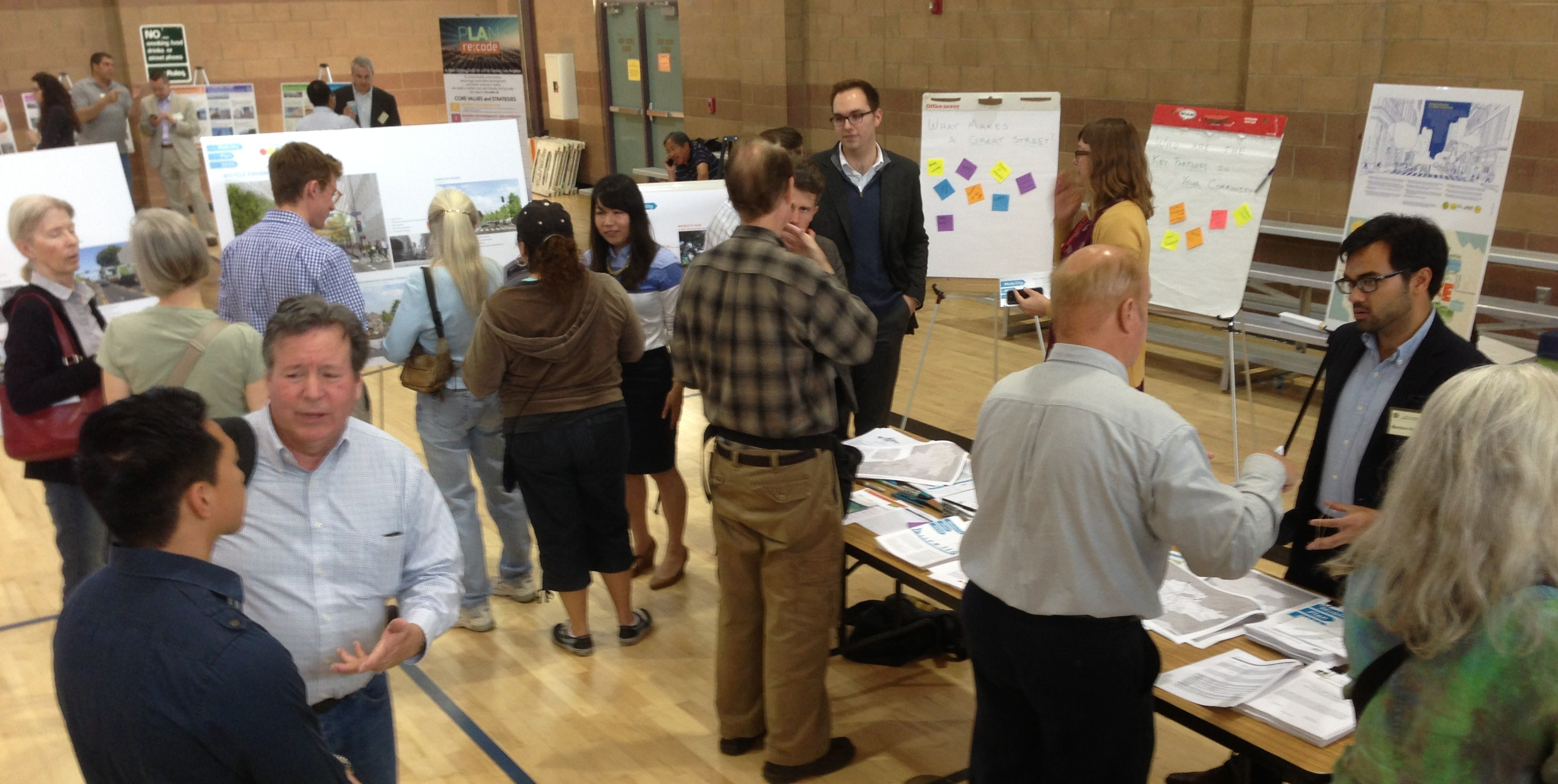 Attendees learn about and comment on L.A. City's draft Mobility Plan 2035 - at last Saturday's community planning forum in Granada Hills. Joe Linton/LA Streetsblog