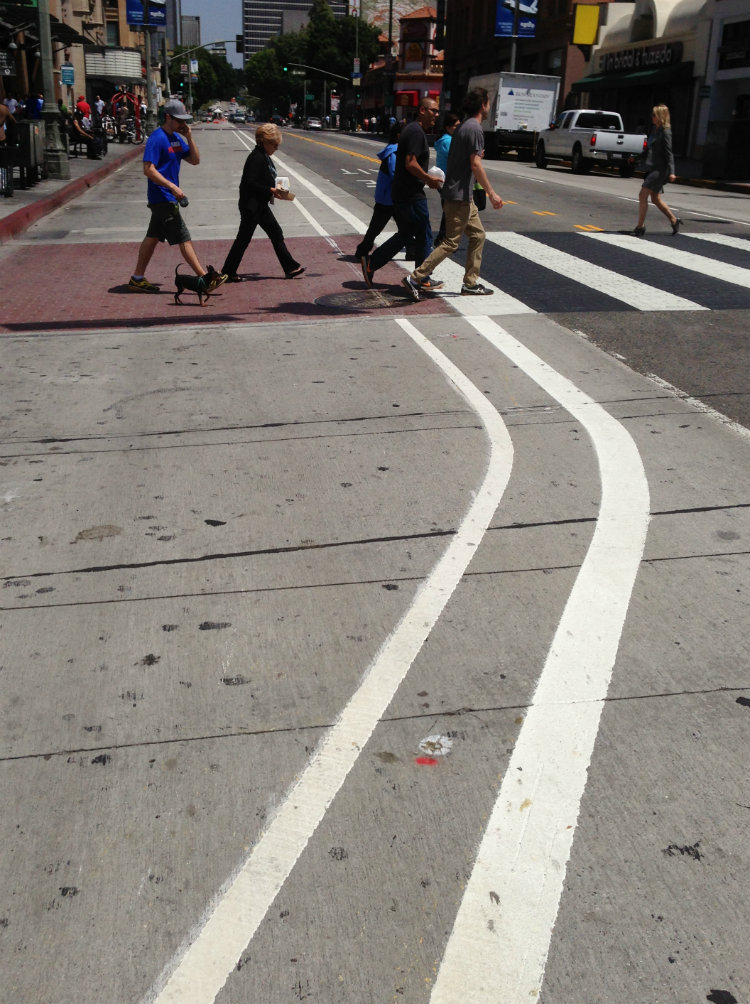 "Work is underway for Downtown L.A.'s Broadway ""Dress Rehearsal."" The street has fresh new striping for bulb-outs, also new zebra crosswalks. photo Joe Linton/Streetsblog L.A."