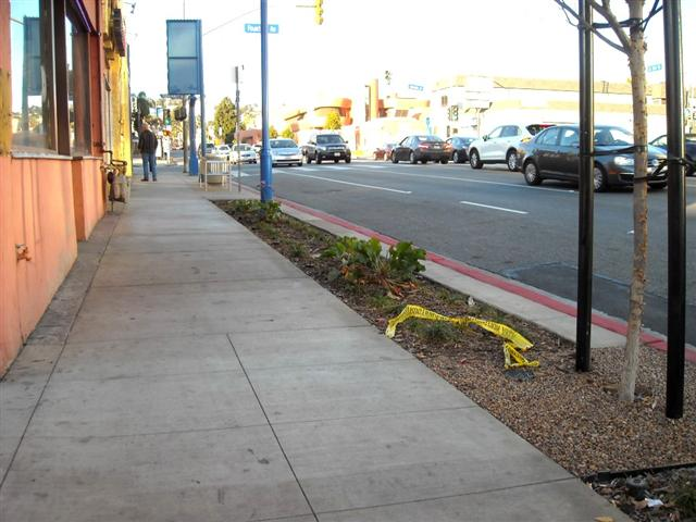 "La Brea Avenue, looking north: Same gloomy, non-descript concrete  sidewalks. Where is decorative pavement (that better attracts pedestrian life)? Where is a more  distinct buffer zone? This type of ""streetscape"" is not too encouraging."