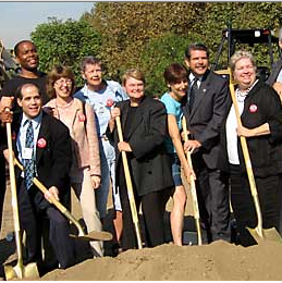 Keuhl was front and center in the early days of Expo Line advocacy, including the groundbreaking for Phase I. Photo:##http://www.friends4expo.org/images/gbpeople.jpg##Darrell Clarke/Friends for Expo Transit##