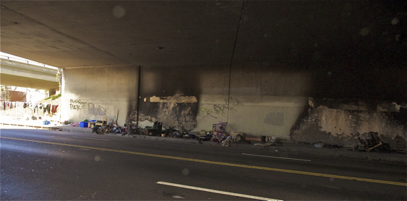 The encampments on the north side of the underpass. Sahra Sulaiman/Streetsblog LA