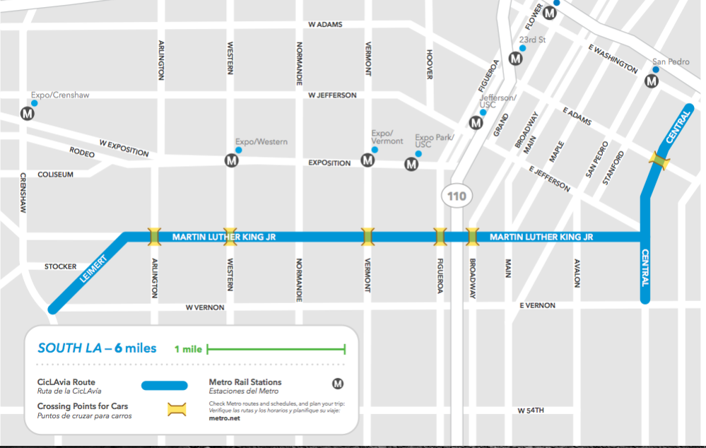 The latest version of the South L.A. route runs largely along King Blvd. between Leimert Park Village and the Jazz District.