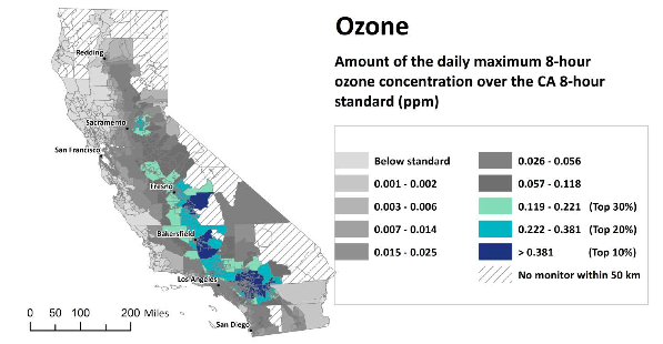 This map shows exposure to ozone, one of the pollution factors measured in CalEnviroScreen. Detailed maps can be found at XXX. Image: CalEPA