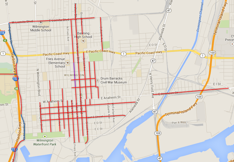 Wilmington's existing bike lane network. Red lines are existing bike lanes. Purple and blue lines are bike routes. Screen shot from LADOT Bike Program website map