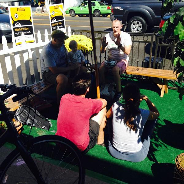 Park(ing) Day on La Brea. Photo: @NwUrbanFilmFest Twitter