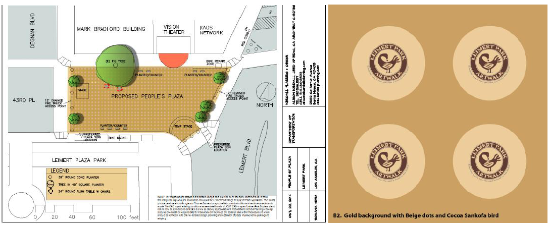 Detail of People St. Plaza plan and the Sankhofa symbol -- one of many designs that stakeholders hope to use to fill the polka dots that will grace the plaza. Plaza design: Kendall Planning + Design