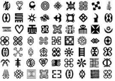 Adinkra symbols which will be used to populate the polka dots on the plaza.
