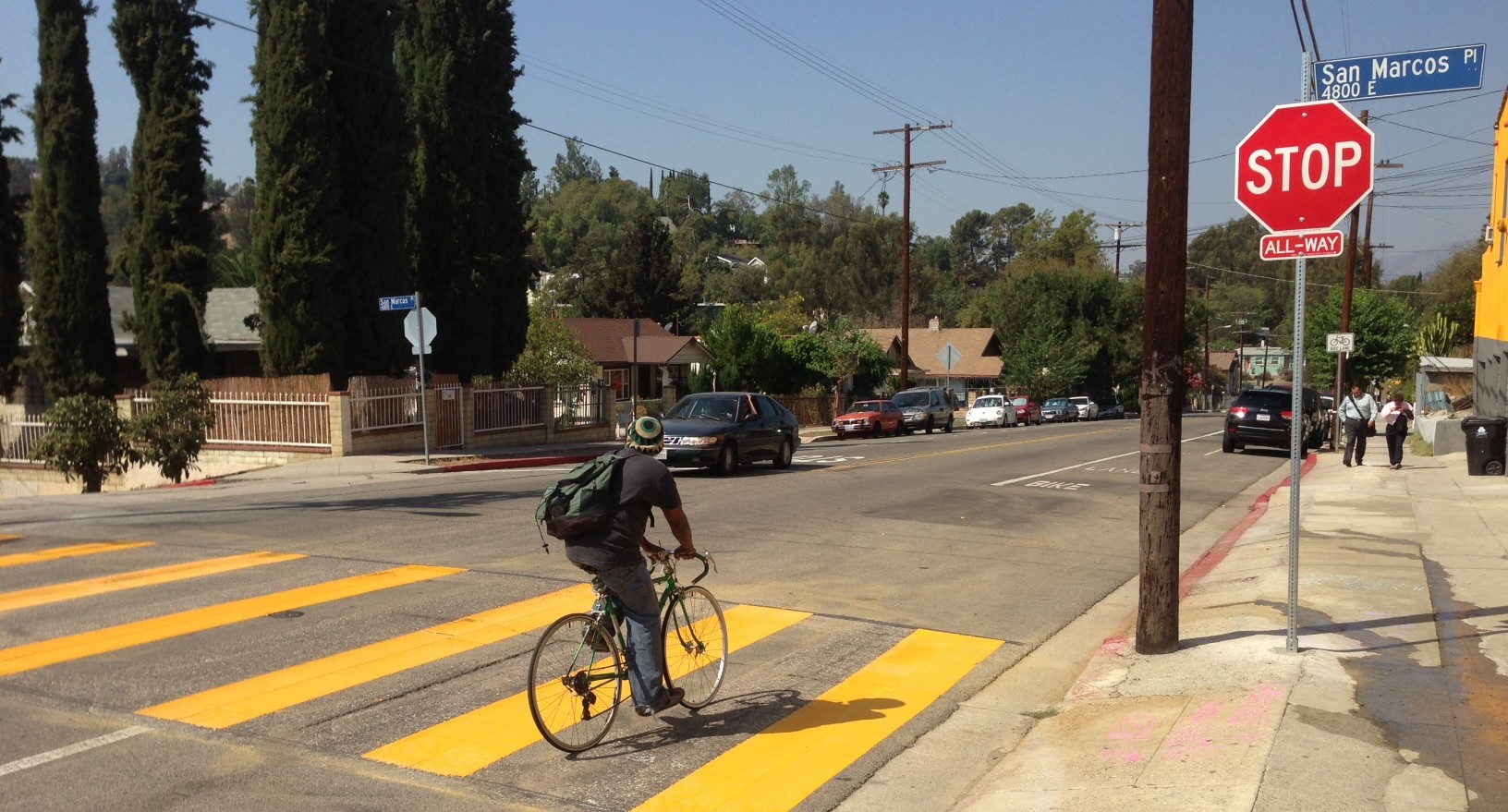 New stop sign at Avenue 50 and San Marcos Place in Highland Park. Photo: Joe Linton/Streetsblog L.A.