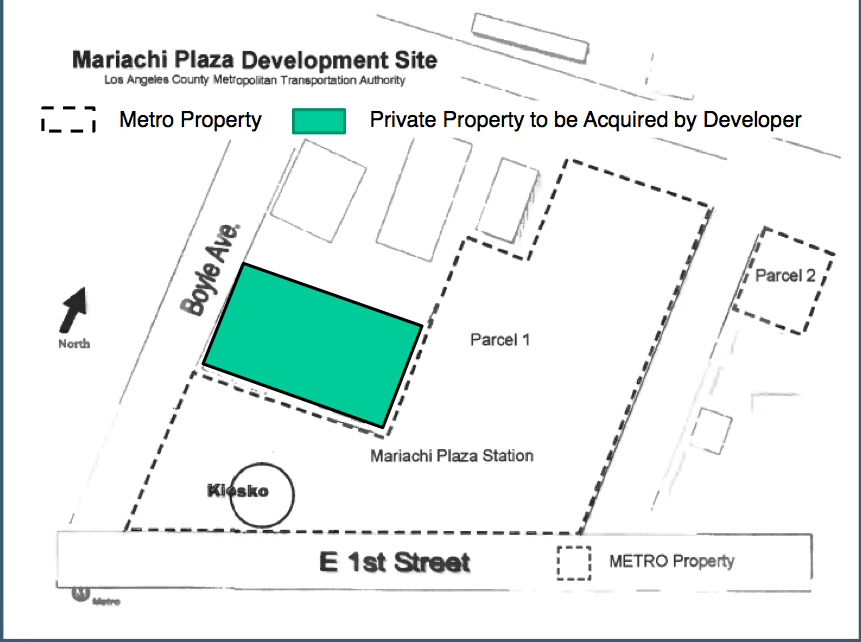 The new footprint of the plaza project. The green represents private property Primestor would acquire. Source: Metro