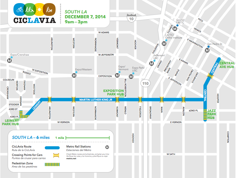 Map of the South L.A. route for this weekend's CicLAvia. The 6-mile route runs largely along King Blvd. and has hubs in the historic arts communities of Leimert Park and the Central Ave. Jazz Corridor.