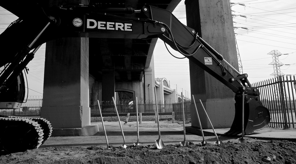 The ceremonial shovels post-earth-throwing under the 6th St. Viaduct. Sahra Sulaiman/Streetsblog L.A.