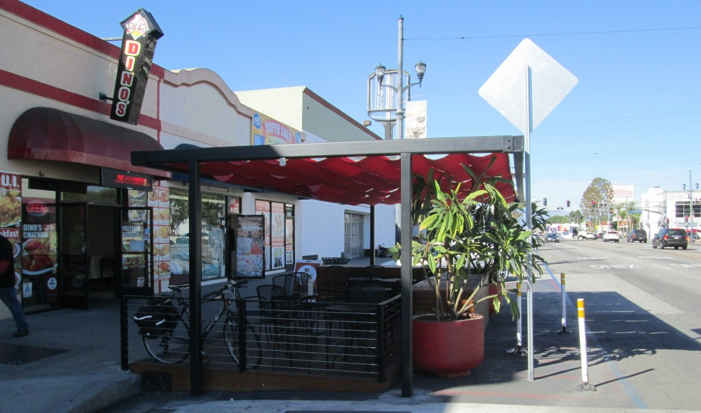 Completed parklet in front of Dino's in Huntington Park