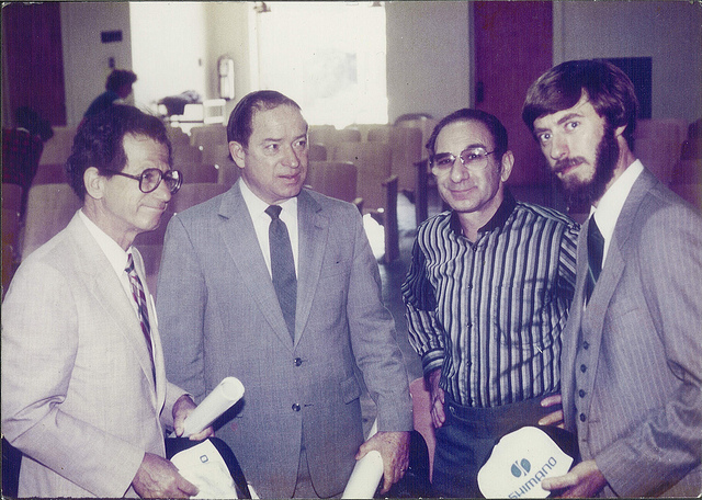 Baum in 1984. Left to right, Los Angeles City Councilmember Marvin Braude, LADOT General Manager Don Howery, Alex Baum, and LADOT Traffic Engineer Tom Jones. Photo via LADOT Bike Blog.