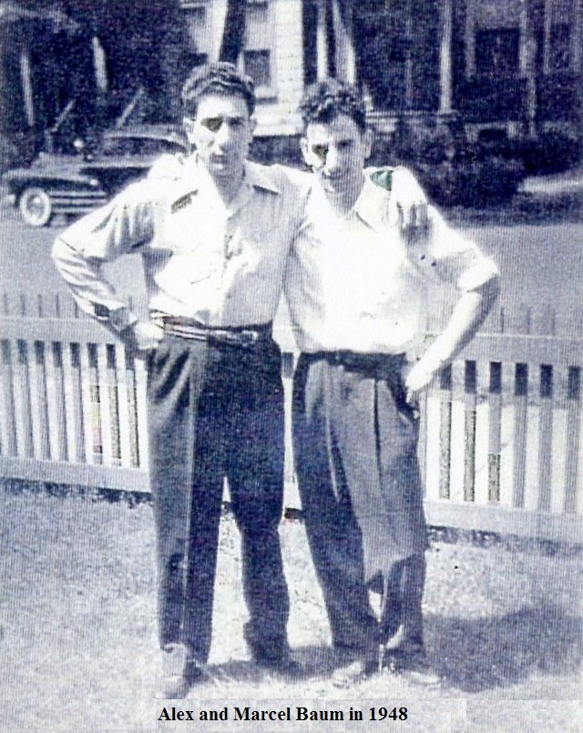 Alex Baum and his brother Marcel in 1949. Photo via family of Marcel Baum via werelate.org