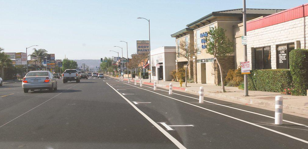 Reseda Boulevard now has parking-protected bike lanes! A Los Angeles first! Photo via @LADOTBikeProg Twitter