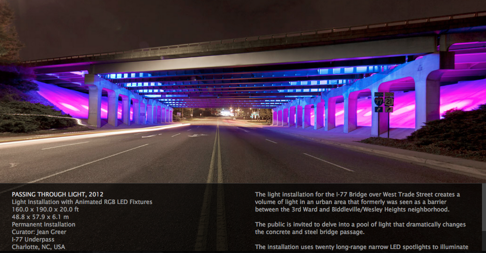PASSING THROUGH LIGHT, 2012 Light Installation with Animated RGB LED Fixtures. (screen shot from his web page)