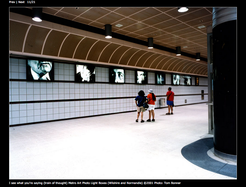 """""""I see what you're saying (train of thought)"""" from the Wilshire/Normandie Station in 2001 (screen shot of her web page)"""