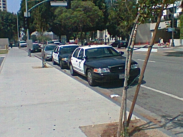 Police cars parked in the bike lanes for much of the length of Los Angeles Street, just north of 1st. Sahra Sulaiman's terrible cellphone/Streetsblog L.A.