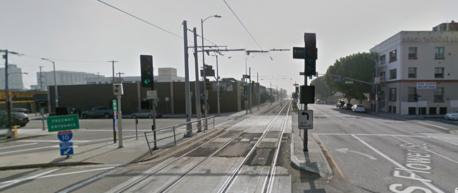 Two of the three sets of signals in place for your safety at 18th and Flower. (Google map screen shot)