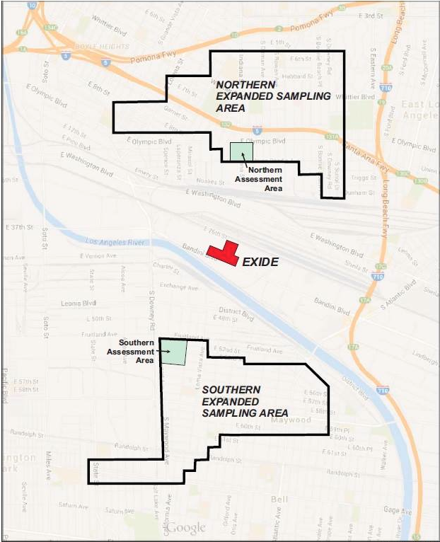 Map of the Expanded Assessment Areas. Testing for lead contamination was originally conducted in the green squares. The current round of testing was conducted in the wider assessment area. Source: DTSC