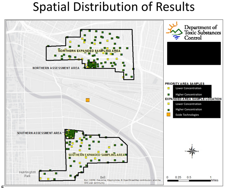 The distribution of the 146 sampling sites in the expanded test areas. Multiple samples were taken from those 146 properties, bringing the total number of samples taken to 8,695. Source: DTSC