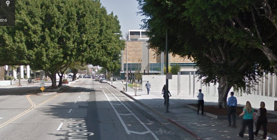 Google Maps screen shot of the buffered bike lane that runs in front of the Parker Center police building.
