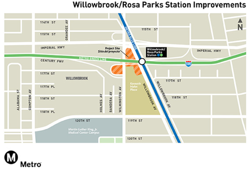 Just north of the Rosa Parks station, the Blue Line crosses Wilmington at grade at an angle, and makes the intersection dangerous for all road users. (Source: Metro)