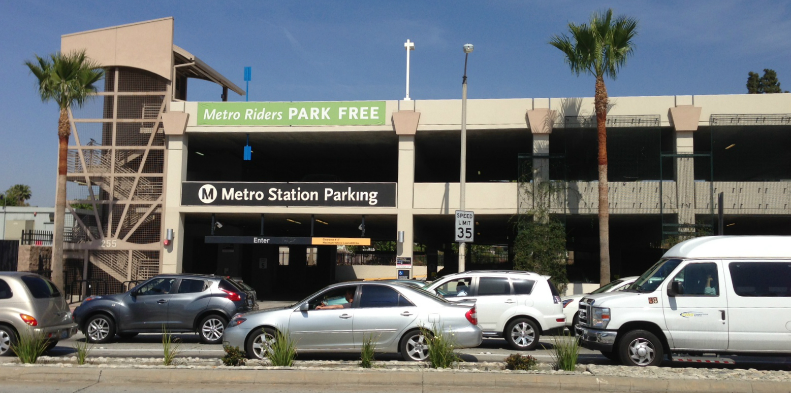 Multi-story free parking structure at Metro Gold Line Atlantic Station may not remain free for long. Photo: Joe Linton/Streetsblog L.A.