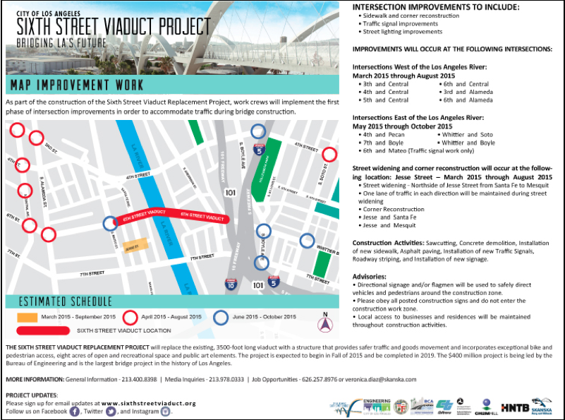 Map and timeline for intersection upgrades in preparation for the demolition of the 6th St. Viaduct. Source: 6th St. Viaduct Replacement project
