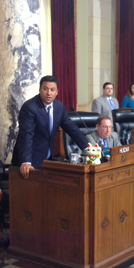 City Council Planning Committee Chair Jose Huizar speaking in favor of Mobility Plan approval today. Photo: Joe Linton/Streetsblog L.A.
