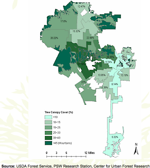 Boyle Heights, located in Council District 14 -- the easternmost district in the center of the map, has far fewer trees than most other districts. Given that Boyle Heights has fewer trees than other parts of CD 14 and the fact that 90 large trees were replaced with saplings, we can safely assume that the tree canopy percentage for the community is lower than the 13% average for the district. Source: