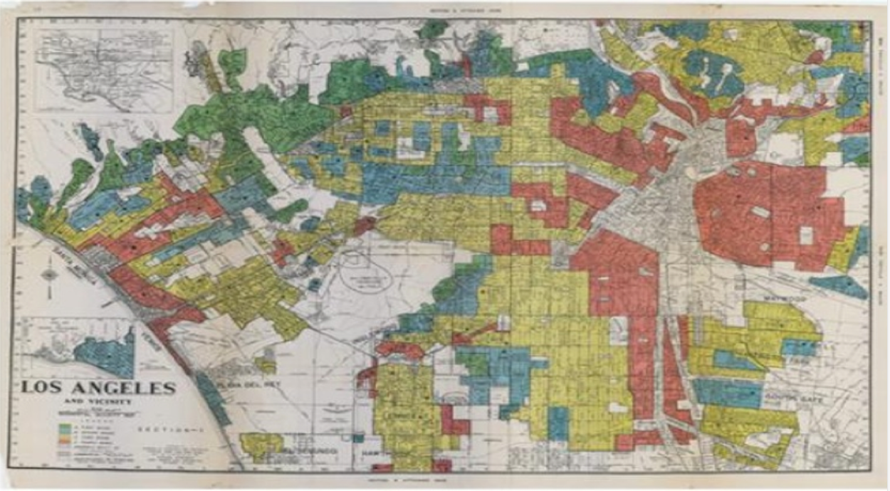 Redlining affected areas of South L.A., Central L.A., and the Eastside. Source: HOLC