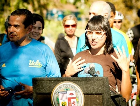Adonia Lugo speaking at the first CicLAvia in 2010