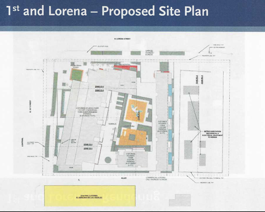 Plans for the site at 1st and Lorena now include housing for disabled homeless veterans and childcare and fitness facilities. Source: Metro