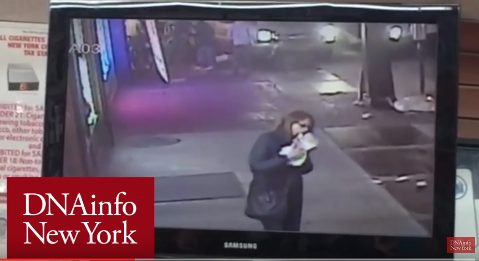 The success of Vision Zero hinges on us, as a society, pledging not to be the equivalent of this lady: someone who is too focused on her own needs (eating pizza) to care about the safety of others. Screenshot of video found at DNAinfo.com